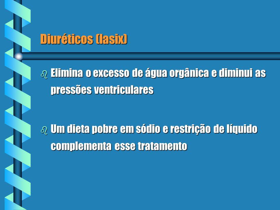 Diuréticos (lasix) Elimina o excesso de água orgânica e diminui as pressões ventriculares.