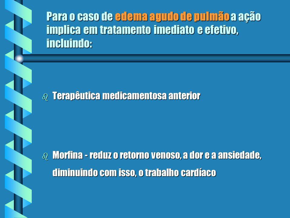Para o caso de edema agudo de pulmão a ação implica em tratamento imediato e efetivo, incluindo: