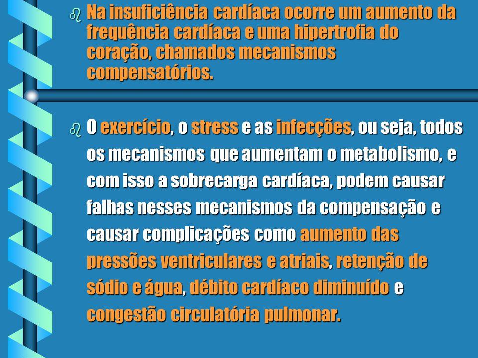 Na insuficiência cardíaca ocorre um aumento da frequência cardíaca e uma hipertrofia do coração, chamados mecanismos compensatórios.