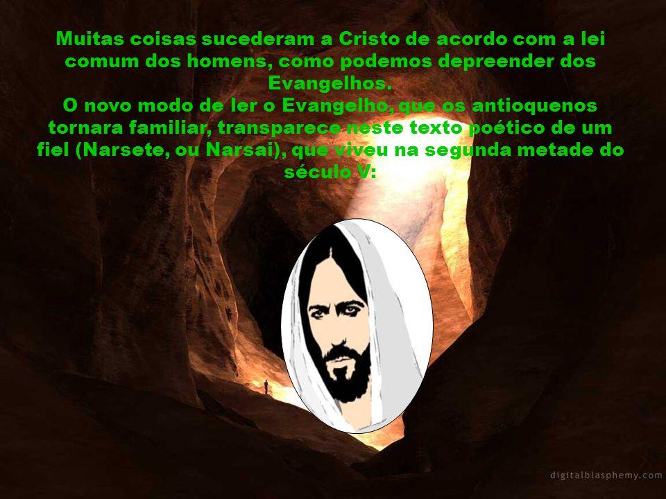 Muitas coisas sucederam a Cristo de acordo com a lei comum dos homens, como podemos depreender dos Evangelhos.