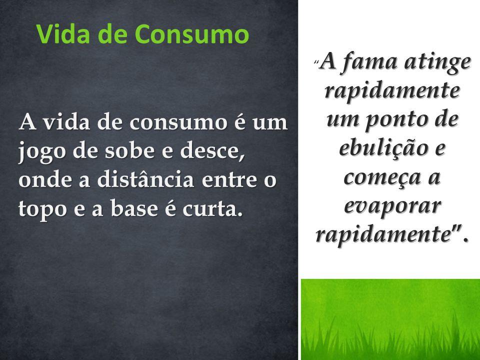 Vida de Consumo A fama atinge rapidamente um ponto de ebulição e começa a evaporar rapidamente .