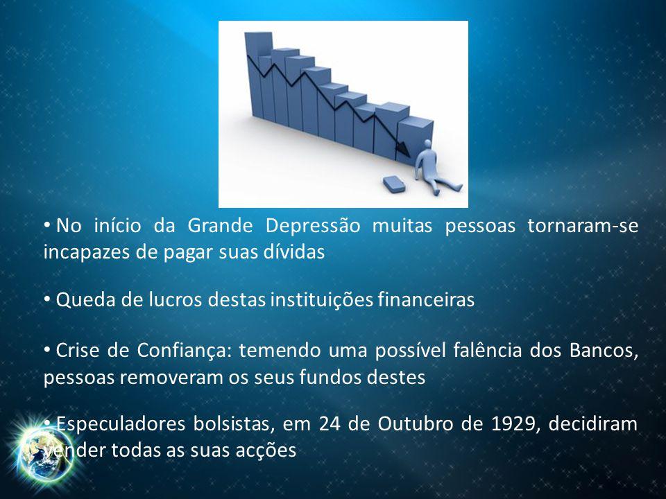 No início da Grande Depressão muitas pessoas tornaram-se incapazes de pagar suas dívidas