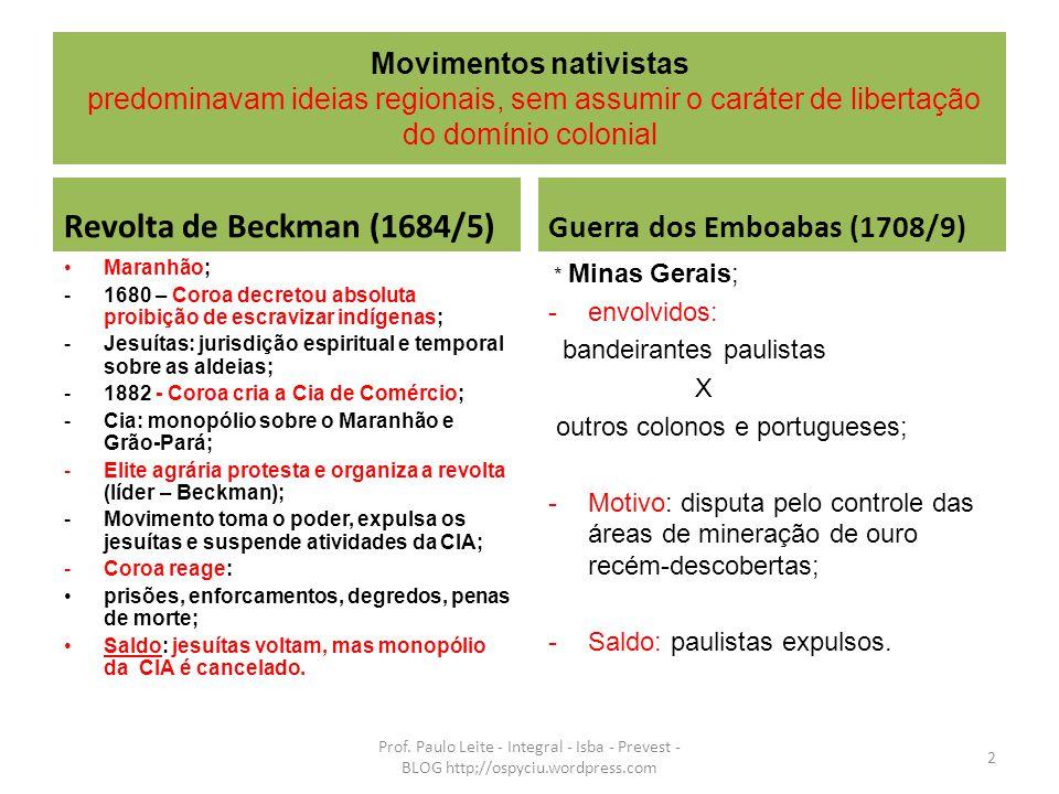 Revolta de Beckman (1684/5) Guerra dos Emboabas (1708/9)