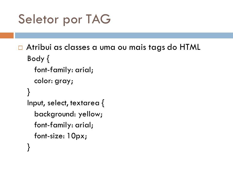 Seletor por TAG Atribui as classes a uma ou mais tags do HTML Body {