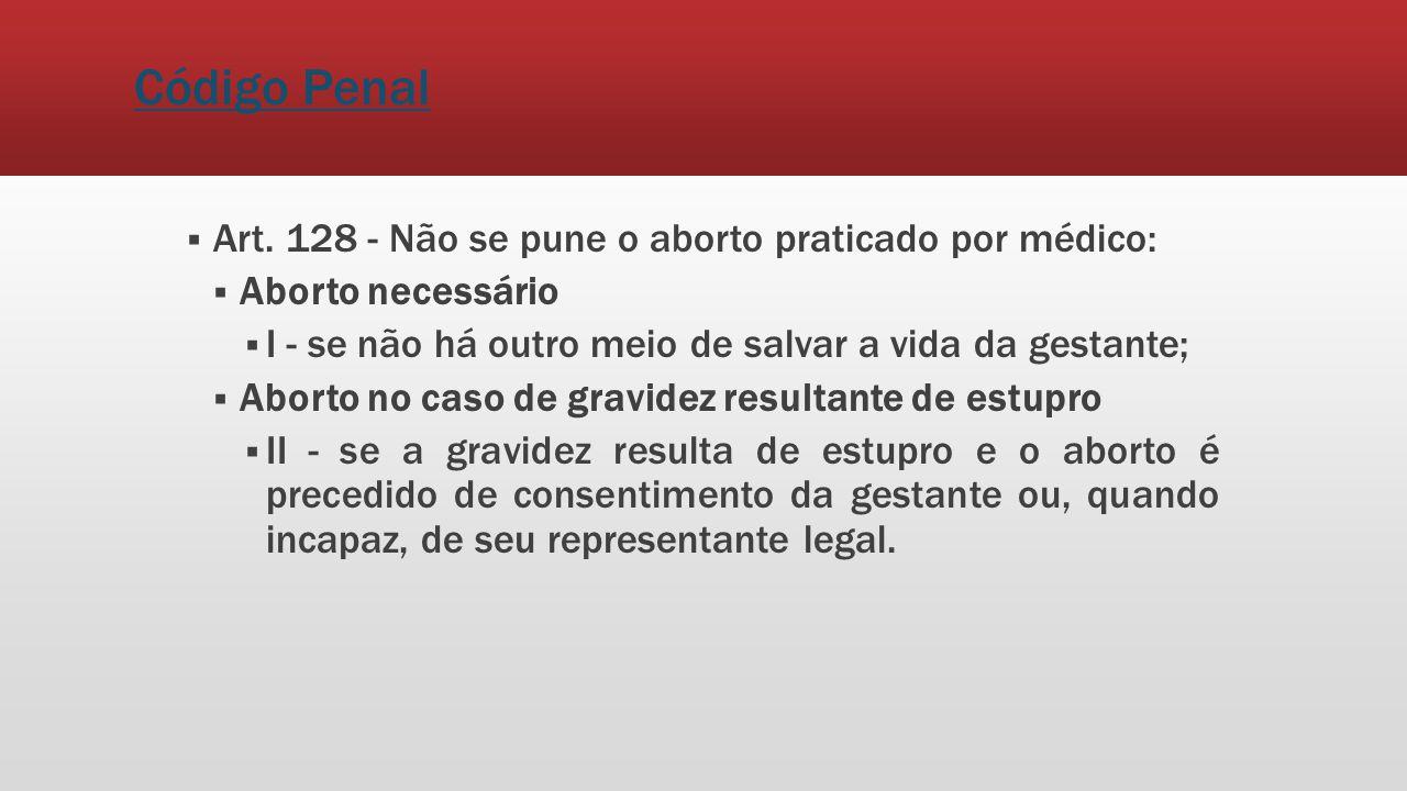 Código Penal Art. 128 - Não se pune o aborto praticado por médico: