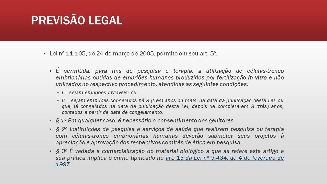 PREVISÃO LEGAL Lei nº 11.105, de 24 de março de 2005, permite em seu art. 5º: