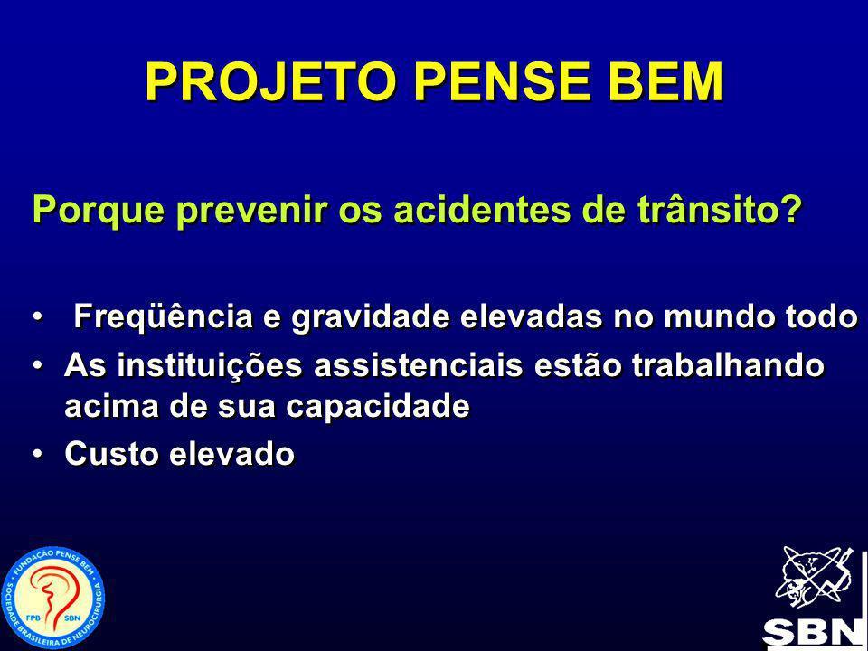 PROJETO PENSE BEM Porque prevenir os acidentes de trânsito