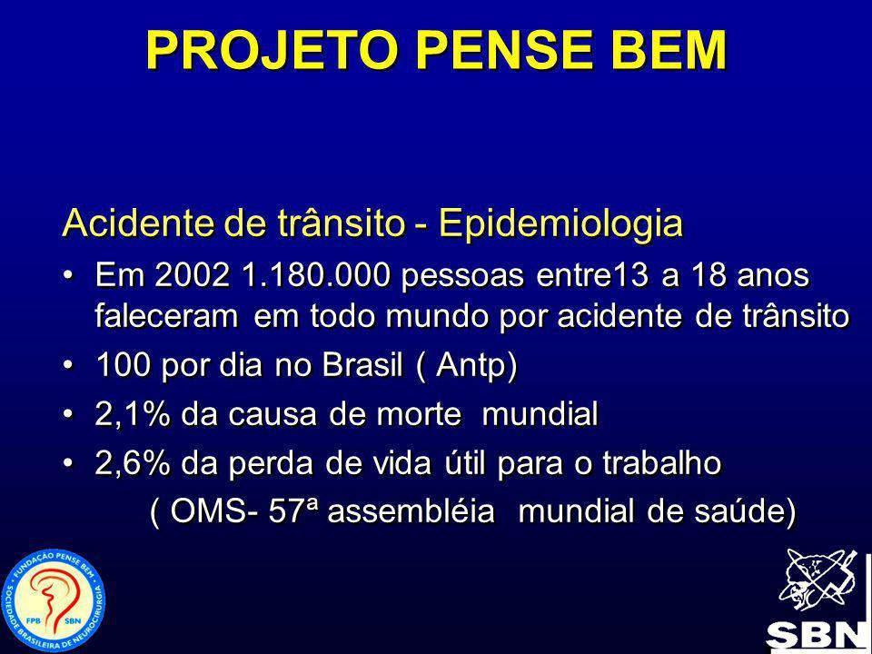 PROJETO PENSE BEM Acidente de trânsito - Epidemiologia