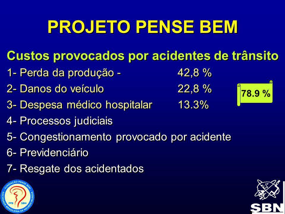 PROJETO PENSE BEM Custos provocados por acidentes de trânsito