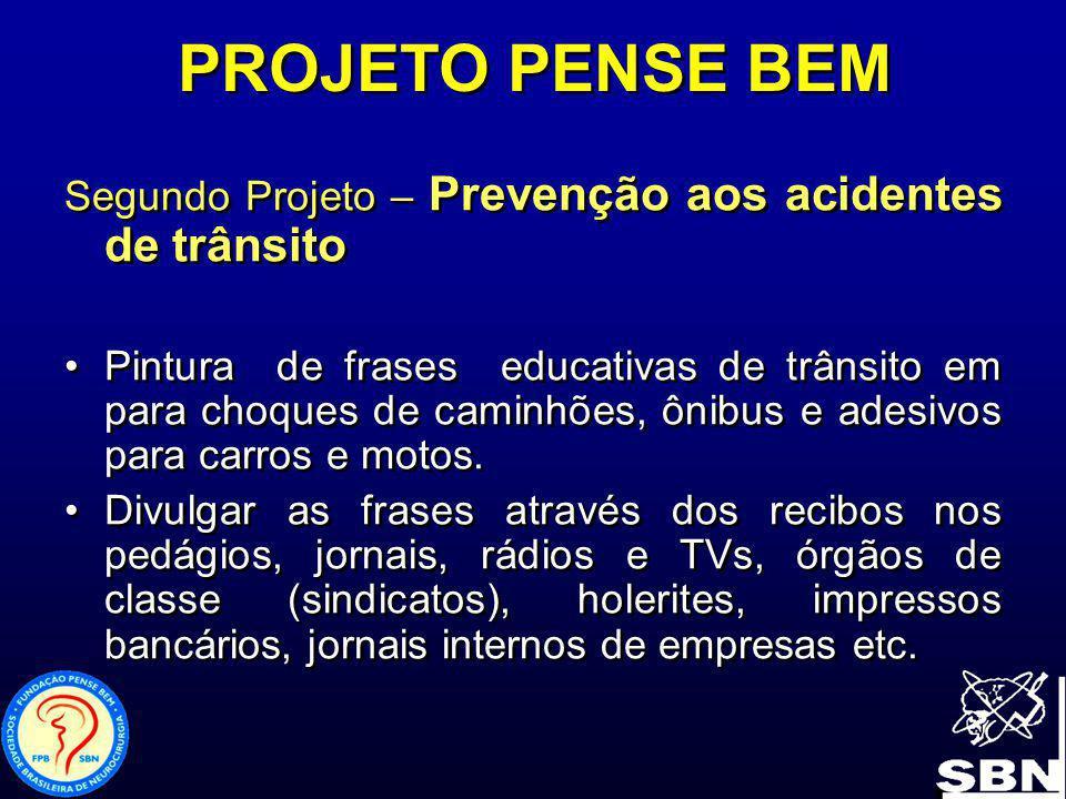 PROJETO PENSE BEM Segundo Projeto – Prevenção aos acidentes de trânsito.