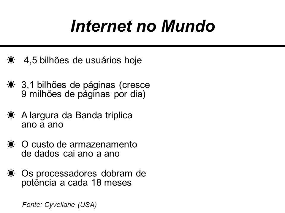 Internet no Mundo 4,5 bilhões de usuários hoje