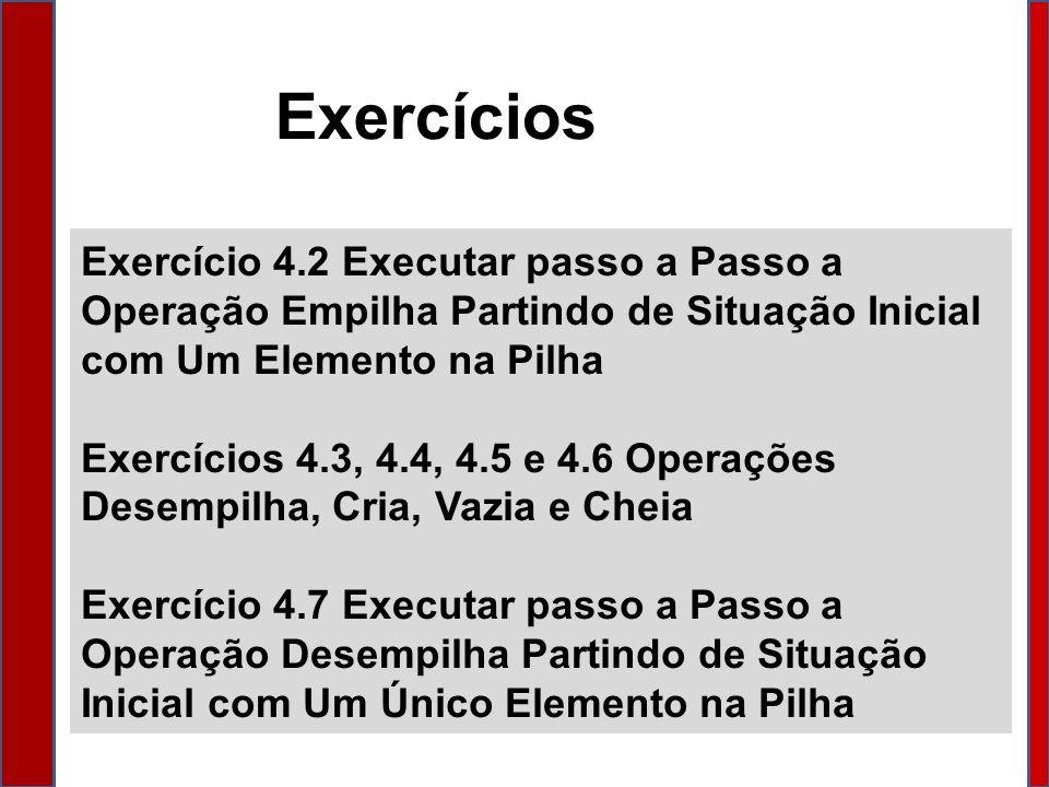 Exercícios Exercício 4.2 Executar passo a Passo a Operação Empilha Partindo de Situação Inicial com Um Elemento na Pilha.