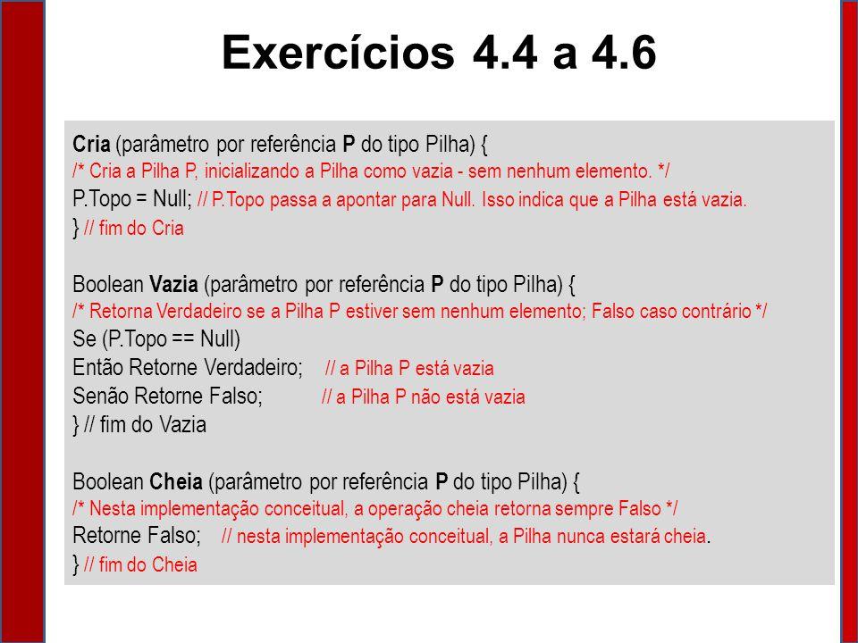Exercícios 4.4 a 4.6 Cria (parâmetro por referência P do tipo Pilha) {