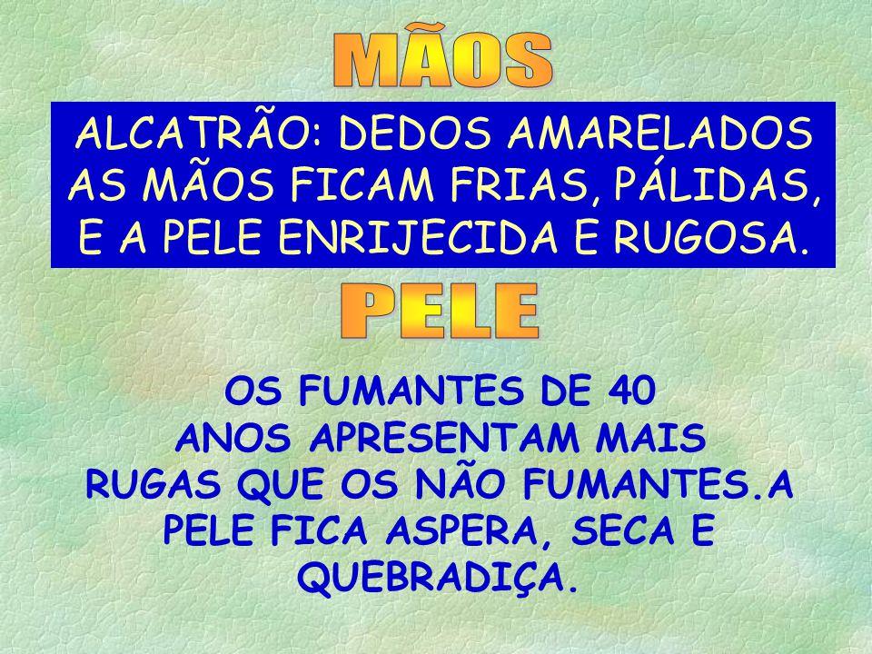 MÃOS ALCATRÃO: DEDOS AMARELADOS AS MÃOS FICAM FRIAS, PÁLIDAS, E A PELE ENRIJECIDA E RUGOSA. PELE.