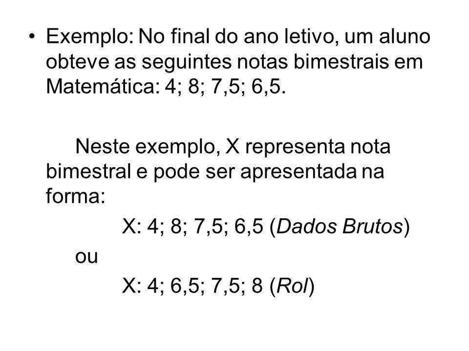 Exemplo: No final do ano letivo, um aluno obteve as seguintes notas bimestrais em Matemática: 4; 8; 7,5; 6,5.