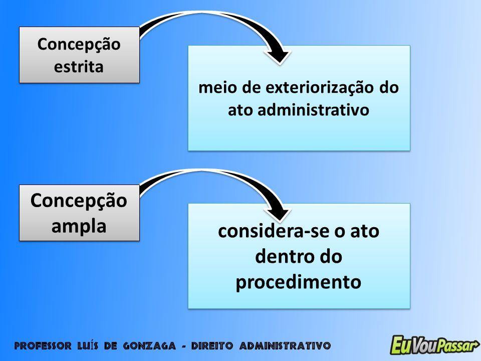Concepção ampla considera-se o ato dentro do procedimento