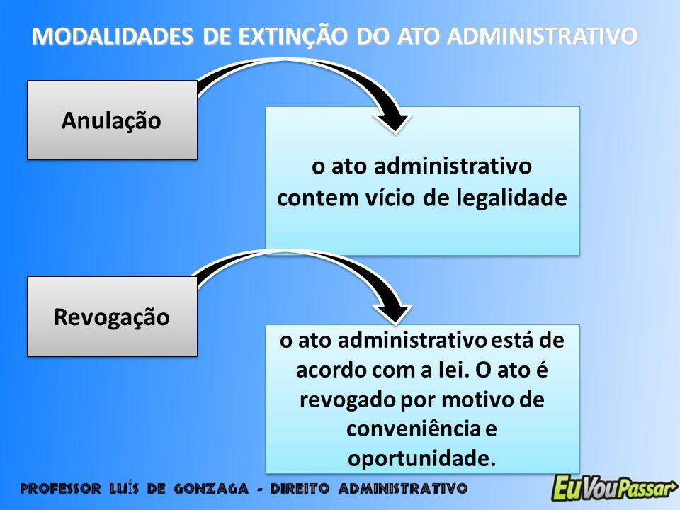 MODALIDADES DE EXTINÇÃO DO ATO ADMINISTRATIVO