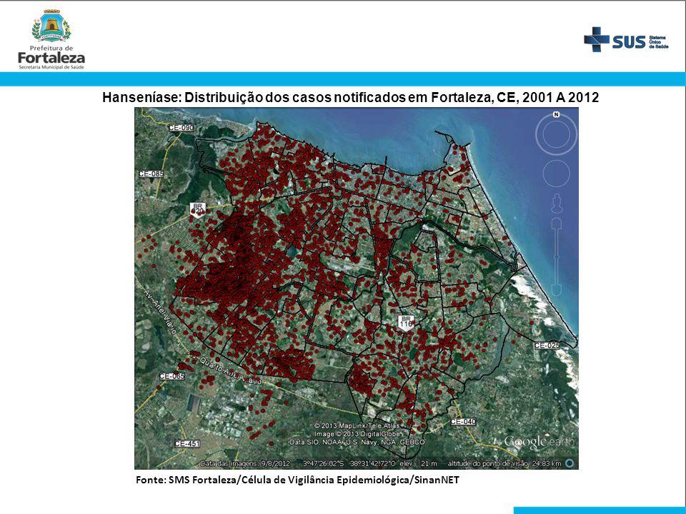 Hanseníase: Distribuição dos casos notificados em Fortaleza, CE, 2001 A 2012