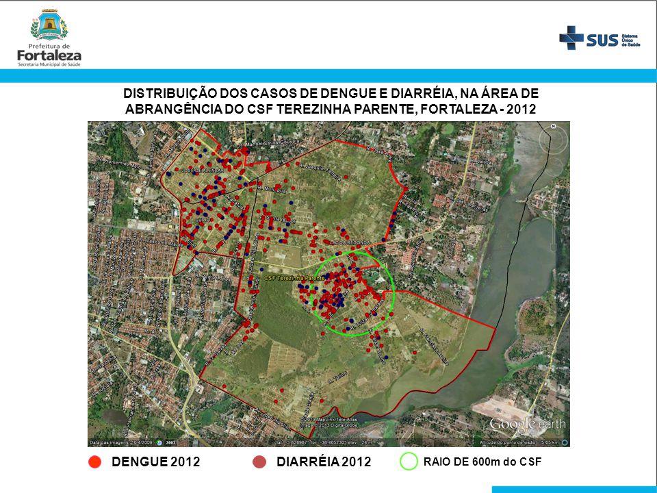 DISTRIBUIÇÃO DOS CASOS DE DENGUE E DIARRÉIA, NA ÁREA DE ABRANGÊNCIA DO CSF TEREZINHA PARENTE, FORTALEZA - 2012