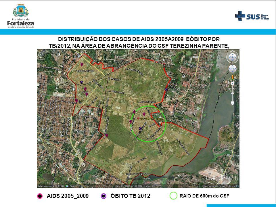 DISTRIBUIÇÃO DOS CASOS DE AIDS 2005A2009 EÓBITO POR TB/2012, NA ÁREA DE ABRANGÊNCIA DO CSF TEREZINHA PARENTE, FORTALEZA