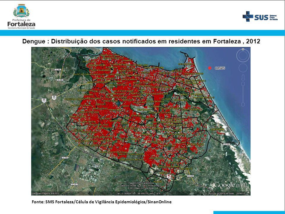Dengue : Distribuição dos casos notificados em residentes em Fortaleza , 2012