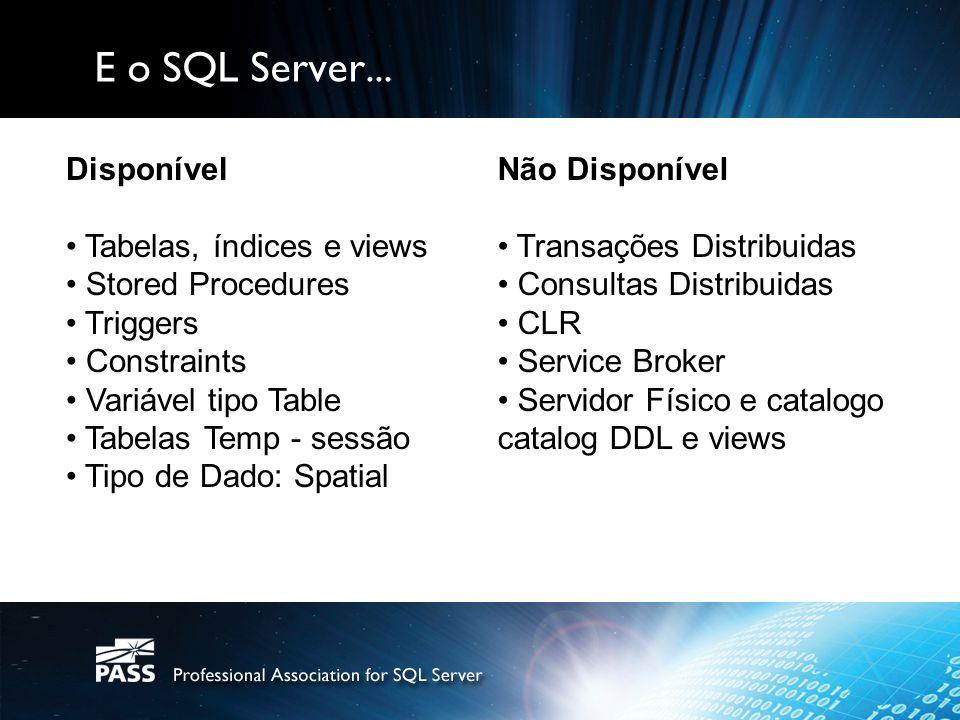 E o SQL Server... Disponível Tabelas, índices e views