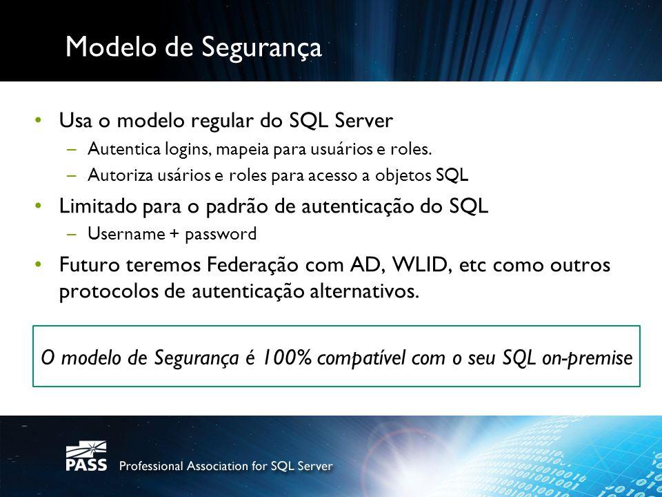 O modelo de Segurança é 100% compatível com o seu SQL on-premise
