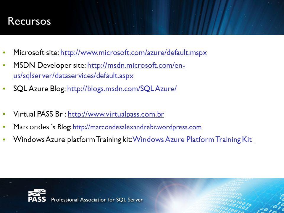 Recursos Microsoft site: http://www.microsoft.com/azure/default.mspxre platform ct.