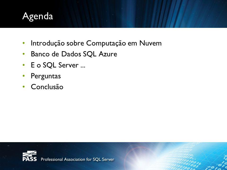 Agenda Introdução sobre Computação em Nuvem Banco de Dados SQL Azure