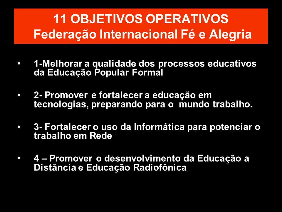 11 OBJETIVOS OPERATIVOS Federação Internacional Fé e Alegria