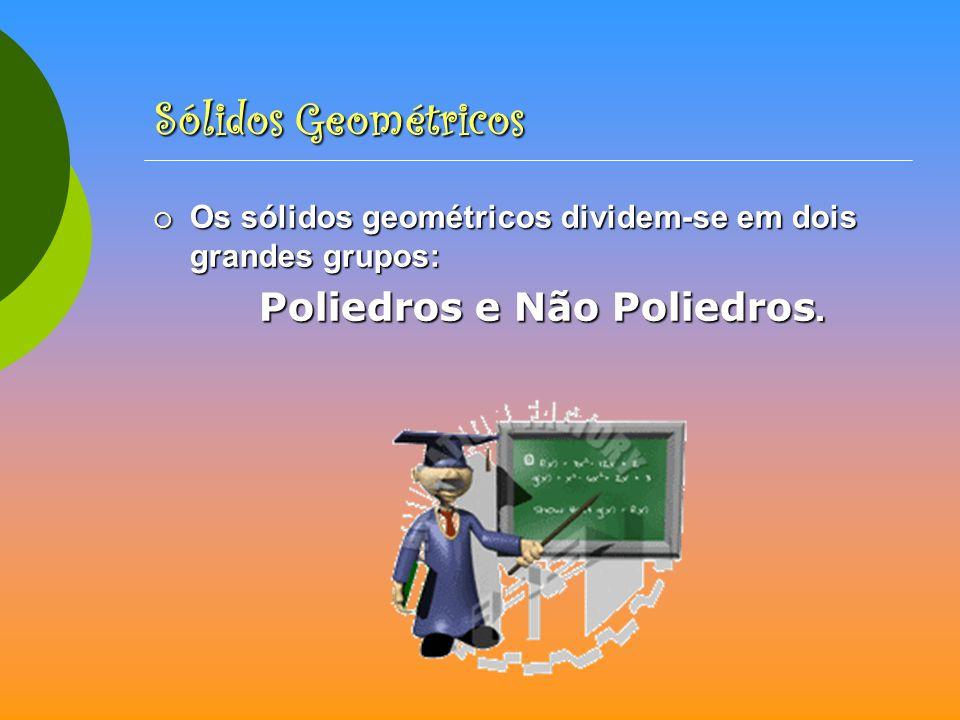 Sólidos Geométricos Os sólidos geométricos dividem-se em dois grandes grupos: Poliedros e Não Poliedros.