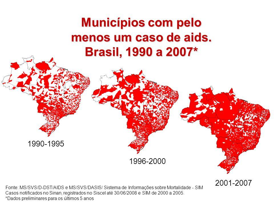 Municípios com pelo menos um caso de aids. Brasil, 1990 a 2007*