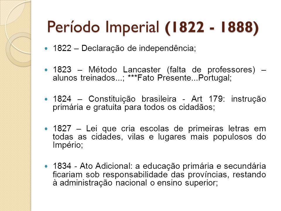 Período Imperial (1822 - 1888) 1822 – Declaração de independência;