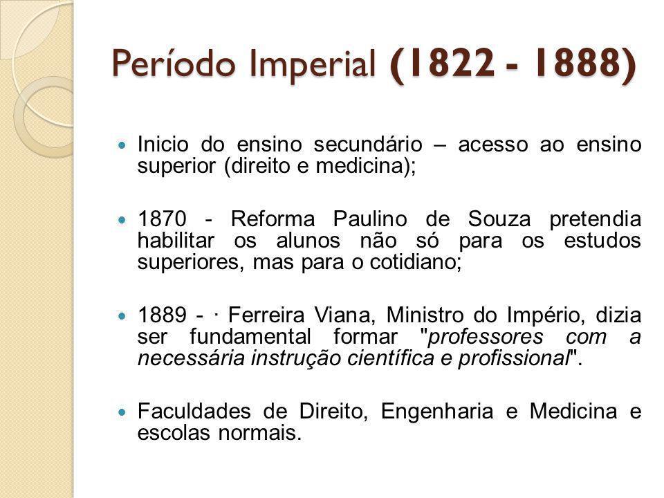 Período Imperial (1822 - 1888) Inicio do ensino secundário – acesso ao ensino superior (direito e medicina);