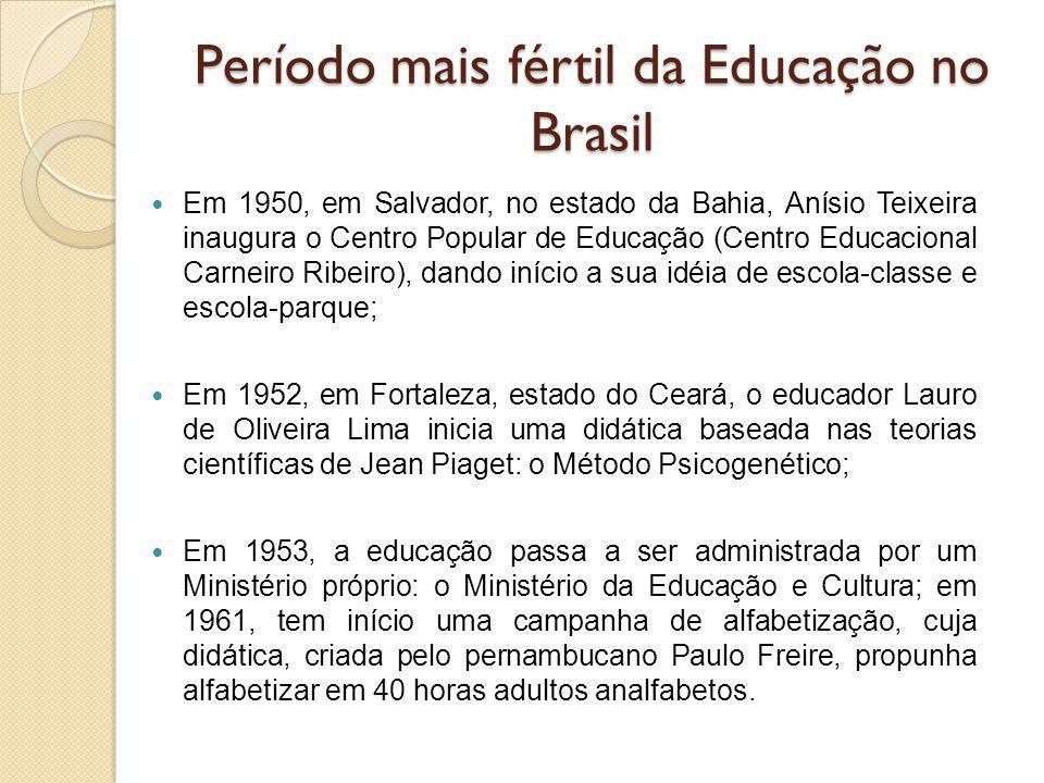 Período mais fértil da Educação no Brasil