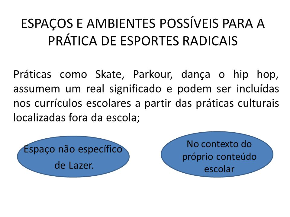ESPAÇOS E AMBIENTES POSSÍVEIS PARA A PRÁTICA DE ESPORTES RADICAIS