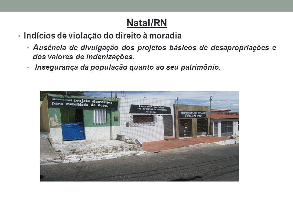 Natal/RN Indícios de violação do direito à moradia