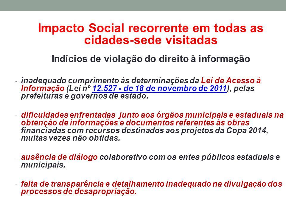 Impacto Social recorrente em todas as cidades-sede visitadas