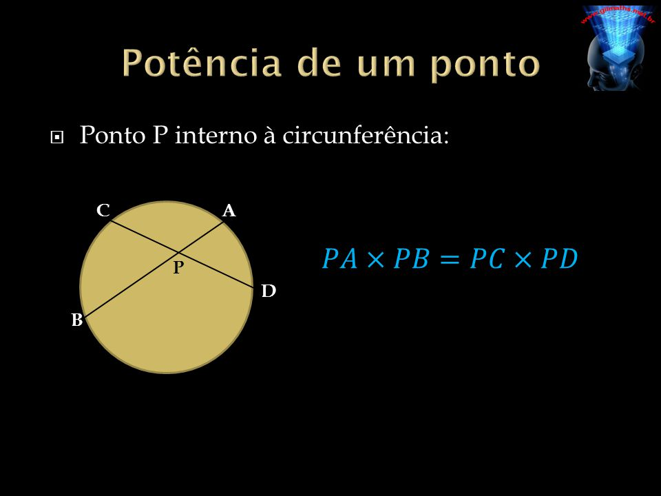 Potência de um ponto 𝑃𝐴×𝑃𝐵=𝑃𝐶×𝑃𝐷 Ponto P interno à circunferência: P A