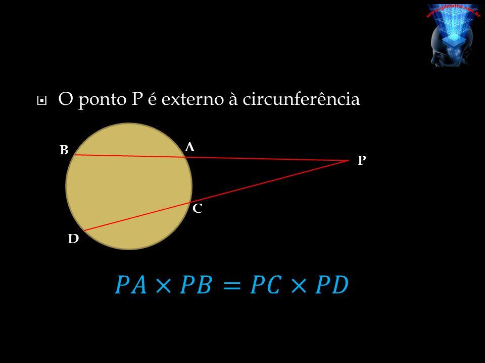 O ponto P é externo à circunferência