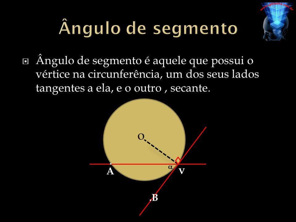 Ângulo de segmento Ângulo de segmento é aquele que possui o vértice na circunferência, um dos seus lados tangentes a ela, e o outro , secante.
