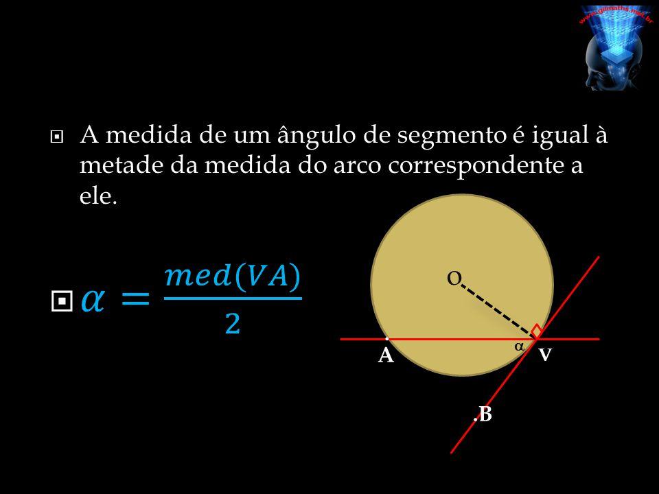 A medida de um ângulo de segmento é igual à metade da medida do arco correspondente a ele.
