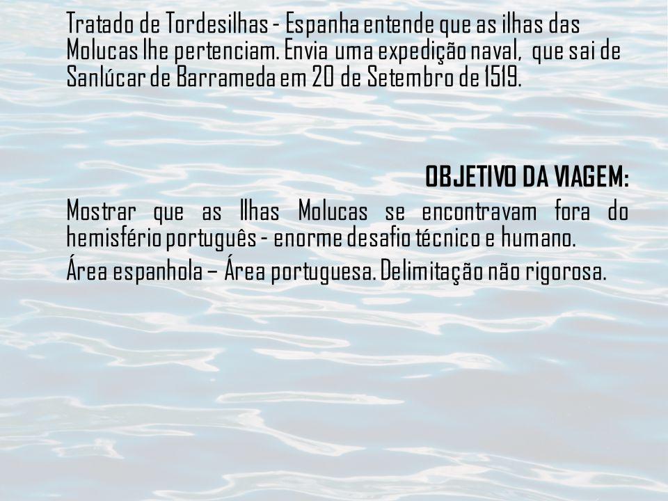 Tratado de Tordesilhas - Espanha entende que as ilhas das Molucas lhe pertenciam.