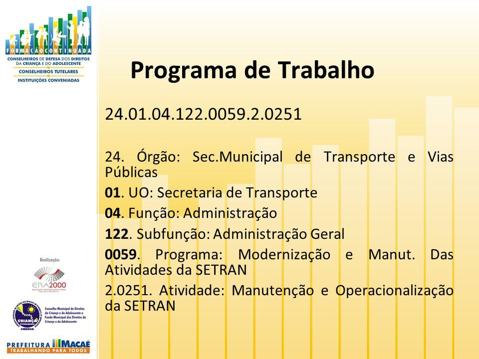 Programa de Trabalho 24.01.04.122.0059.2.0251. 24. Órgão: Sec.Municipal de Transporte e Vias Públicas.