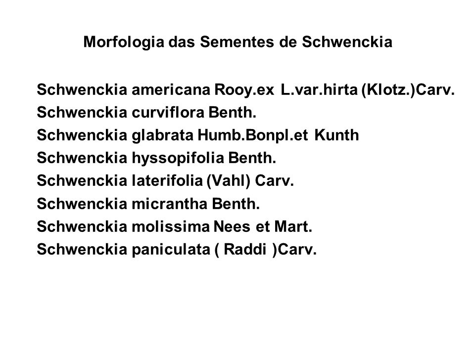 Morfologia das Sementes de Schwenckia