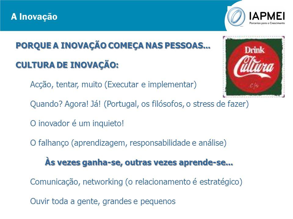 A Inovação PORQUE A INOVAÇÃO COMEÇA NAS PESSOAS...