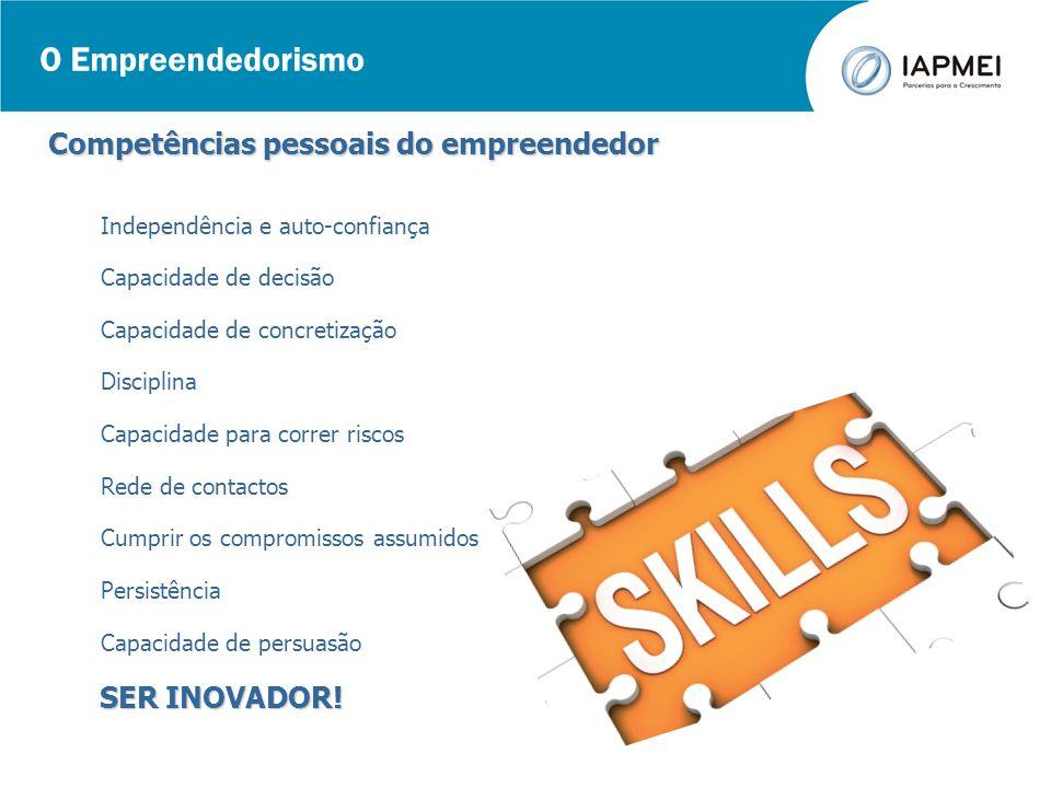 O Empreendedorismo Competências pessoais do empreendedor SER INOVADOR!