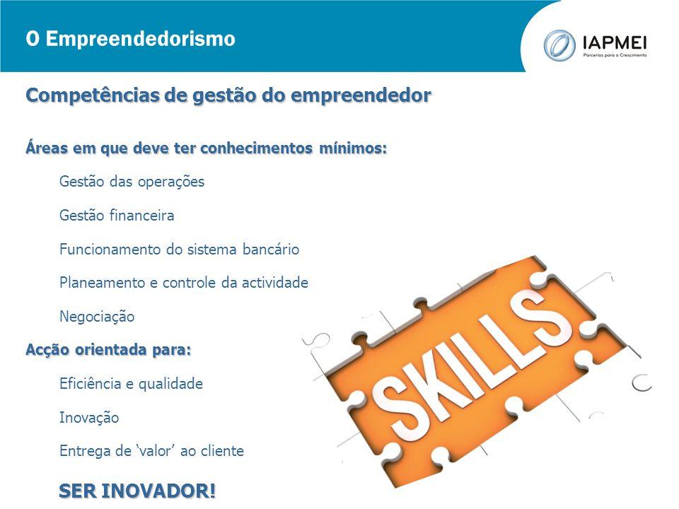 O Empreendedorismo Competências de gestão do empreendedor