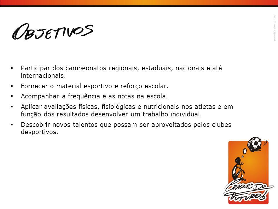 Participar dos campeonatos regionais, estaduais, nacionais e até internacionais.