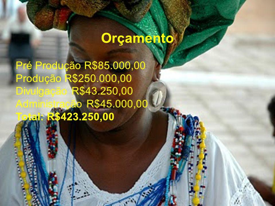 Orçamento Pré Produção R$85.000,00 Produção R$250.000,00